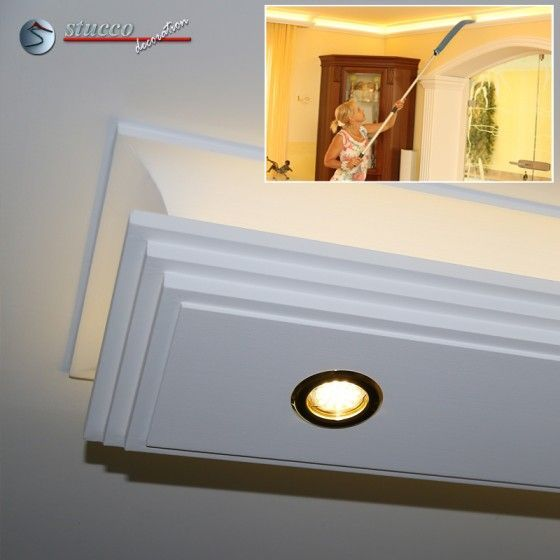 Stuckprofil für direkte und indirekte Deckenbeleuchtung Dortmund 190+2x209 PLEXI PLUS mit stufenförmigem Stuckprofil und LED Beleuchtung