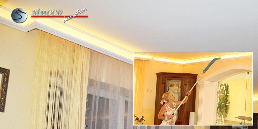 Die Stuckleisten für indirekte Beleuchtung 'Essen 202 PLEXI PLUS' sind Zierleisten aus Styropor.