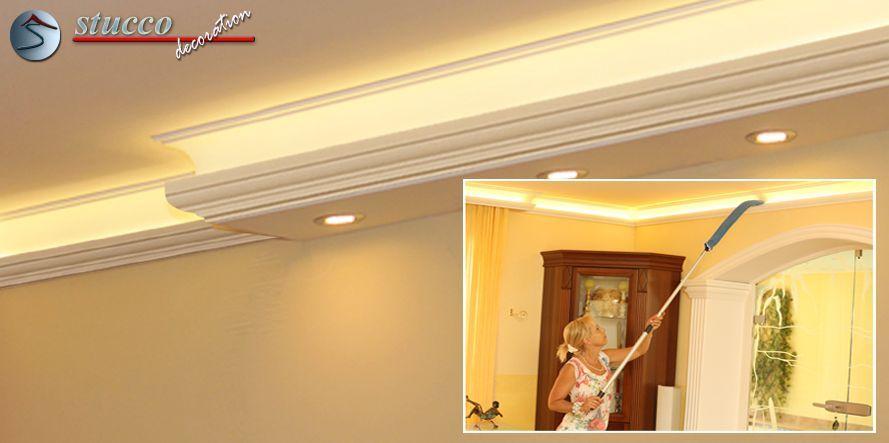 LED Deckenbeleuchtung mit der Stuckleiste 'Essen 270+202 PLEXI PLUS'