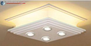 Design Stucklampe Cottbus 308/209 mit warmweißen LED Spots und LED Strip
