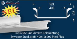 Stuckprofil für Kombi Beleuchtung Essen 400+2x202 PLEXI PLUS