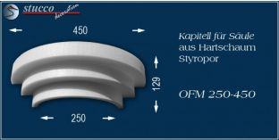 Kapitell-Hälfte für Säule aus Hartschaum Styropor OFM 250/450