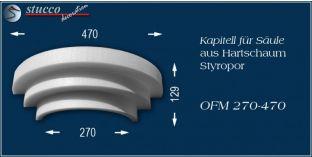 Kapitell-Hälfte für Säule aus Hartschaum Styropor OFM 270/470