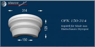 Kapitell-Hälfte für Säule aus Hartschaum Styropor OFK 150/314