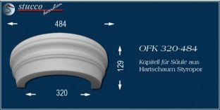 Kapitell-Hälfte für Säule aus Hartschaum Styropor OFK 320/484