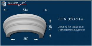Kapitell-Hälfte für Säule aus Hartschaum Styropor OFK 350/514
