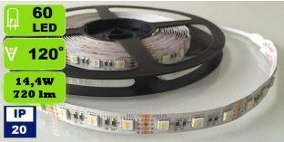5050 SMD RGBW LED Strips mit 60 LEDs/m 14,4 W/m IP20 mehrfarbig und warmweiß