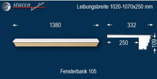 Komplette Fensterbank Thum 105 1020-1070-250