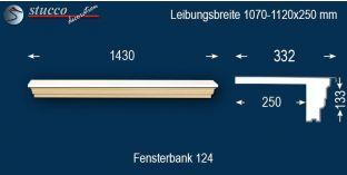 Komplette Fensterbank Magdeburg 124 1070-1120-250