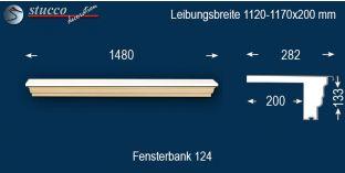 Komplette Fensterbank Aachen 124 1120-1170-200