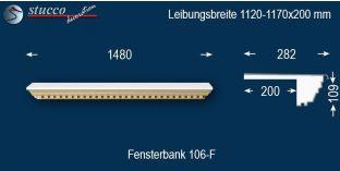 Komplette Fensterbank Plön 106F 1120-1170-200