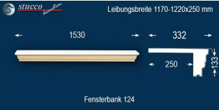 Komplette Fensterbank Mönchengladbach 124 1170-1220-250