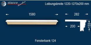 Komplette Fensterbank Wiesbaden 124 1220-1270-200