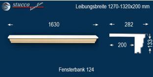 Komplette Fensterbank Braunfels 124 1270-1320-200