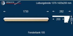 Komplette Fensterbank Sonthofen 105 1370-1420-200