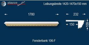 Komplette Fensterbank Melle 106F 1420-1470-150