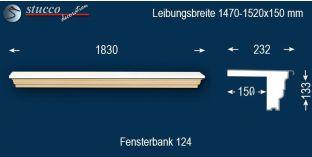Komplette Fensterbank Mainbernheim 124 1470-1520-150