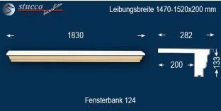 Komplette Fensterbank Neumark 124 1470-1520-200