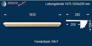 Komplette Fensterbank Schönberg 106F 1470-1520-200