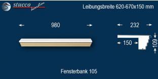 Komplette Fensterbank Bonn 105 620-670-150