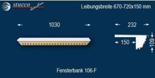 Komplette Fensterbank Enger 106F 670-720-150