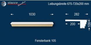 Komplette Fensterbank Cochen 105 670-720-200