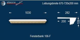 Komplette Fensterbank Gefell 106F 670-720-200