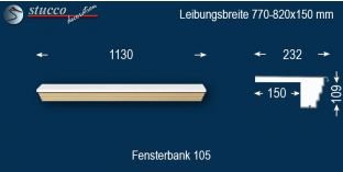 Komplette Fensterbank Löbau 105 770-820-150