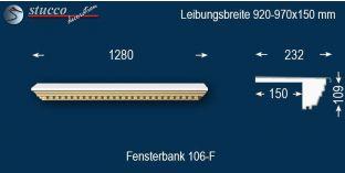 Komplette Fensterbank Trebbin 106F 920-970-150