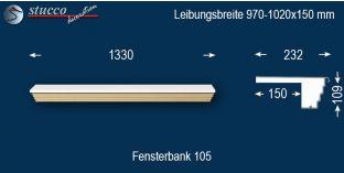 Komplette Fensterbank Brehna 105 970-1020-150