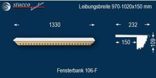 Komplette Fensterbank Landshut 106F 970-1020-150