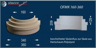 Säulenfuß-Hälfte mit Beschichtung  OFMK 160/360