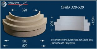Säulenfuß-Hälfte mit Beschichtung OFMK 320/520