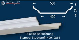 Stuckprofil für direkte Beleuchtung Trier 400+2x14