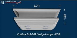 Design Stucklampe Cottbus 308/209 mit warmweißen LED Spots und RGB LED Strip