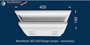 Design Stucklampe Mannheim 303/202 mit warmweißen LED Spots und LED Strip