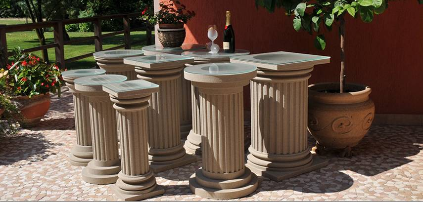 Ideen zur Fassadengestaltung Schritt für Schritt +1: Komplette beschichtete Säulen aus Styropor