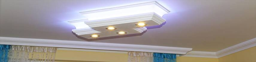 Stucklampen aus Styropor mit LED Spots und LED Strips