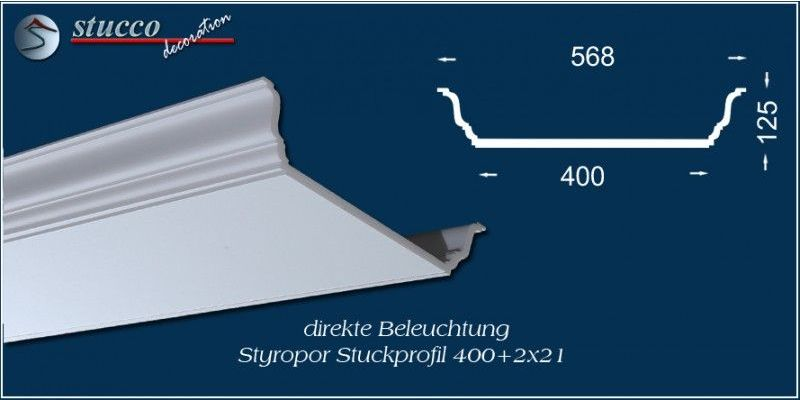 stuckprofil f r direkte beleuchtung d ren 400 2x21. Black Bedroom Furniture Sets. Home Design Ideas
