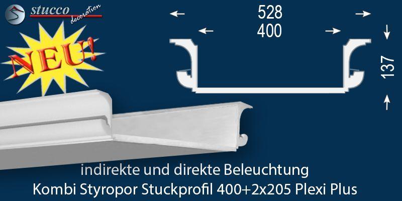 Lichtleiste für direkte und indirekte Beleuchtung München 400+2x205 ...
