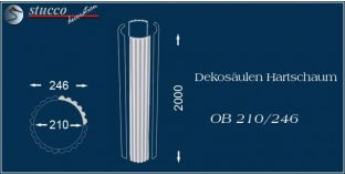 Dekosäulen-Viertel Hartschaum OB 210/246