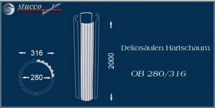 Dekosäulen-Viertel Hartschaum OB 280/316