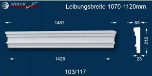Aussenstuck Tympanon gerade Herrenberg 103/117 1070-1120