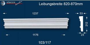 Fassadenelement Tympanon gerade Reutlingen 103/117 820-870