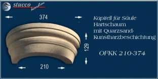 Kapitell-Hälfte für Dekosäule mit Beschichtung OFKK 210/374