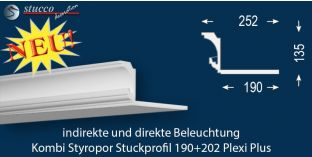 Kombi Lichtleisten indirekte Beleuchtung 'Essen 190+202 PLEXI PLUS'