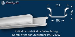 Stuckleiste für kombinierte Beleuchtung Essen 190+2x202