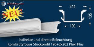 Stuckleiste für direkte und indirekte Beleuchtung Essen 190+2x202 PLEXI PLUS