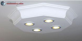 Stucklampe aus Zierleisten mit LED Einbauleuchten Bayern 10/500x500-2