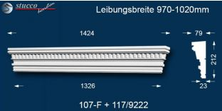 Stuck Fassade Tympanon gerade Dömitz 107F/117 970-1020